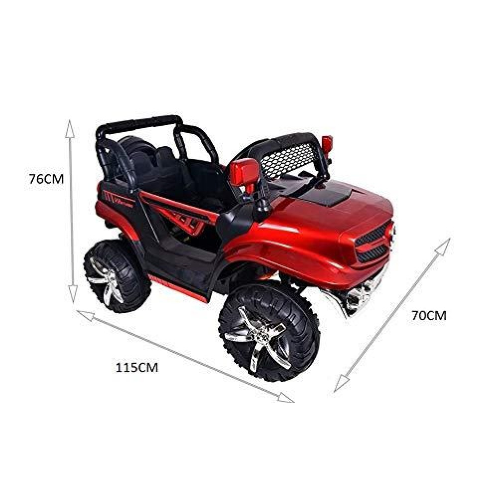 PATOYS V8 Biturbo 12v Battery Car Jeep with rubbers tyre for Kids 1 to 7 Years with Mobile Application Control
