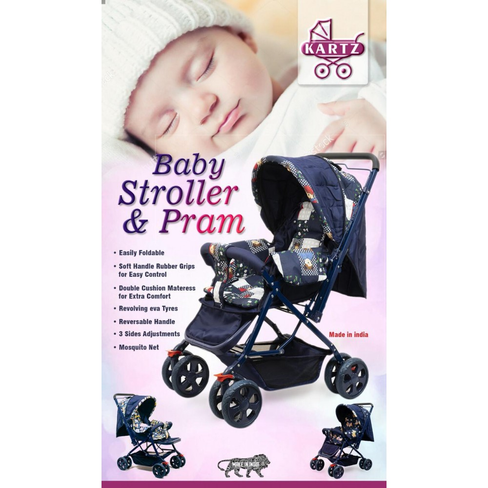 PATOYS Make in India Stroller/Pram, Easy Fold, For Newborn Baby, Infant Kids, 0-3 Years