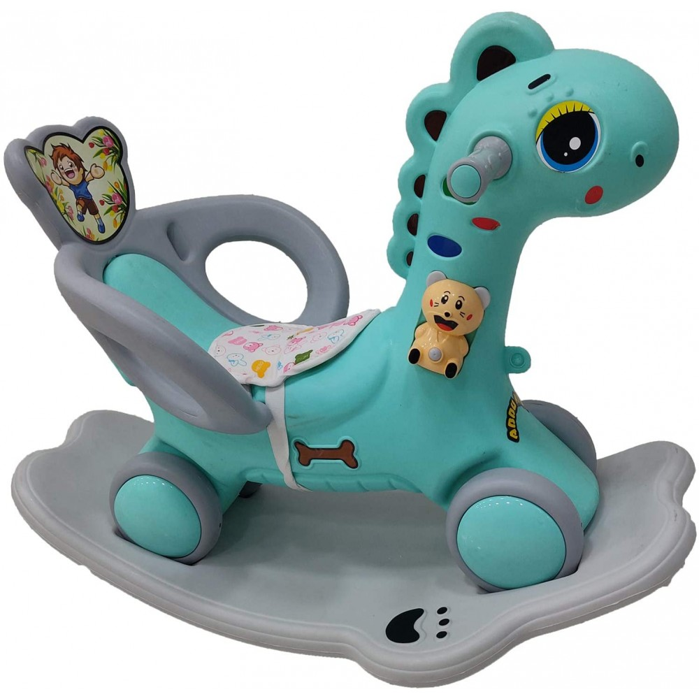 YASHAV 2 in 1 Dinosaur Rider Animal Swing Musical Toy in Green Color (1-5 Yeas)