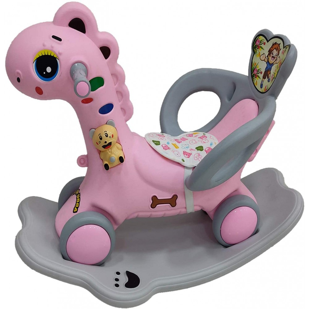 YASHAV 2 in 1 Dinosaur Rider Animal Swing Musical Toy in Pink Color (1-5 Yeas)