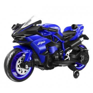 PATOYS - Ninja H2 Sports Battery Operated Ride On Bike For Kids, Hand Accelerator With Music System - Blue