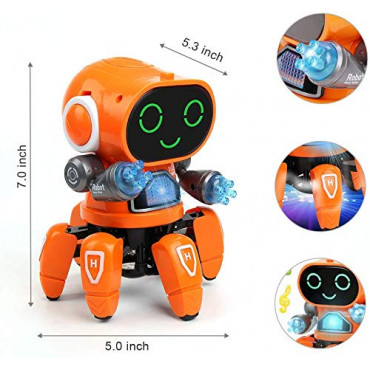PATOYS Bot Robot Pioneer | Colorful Lights and Music | Dancing Robot Toys for Boys and Girls | Orange