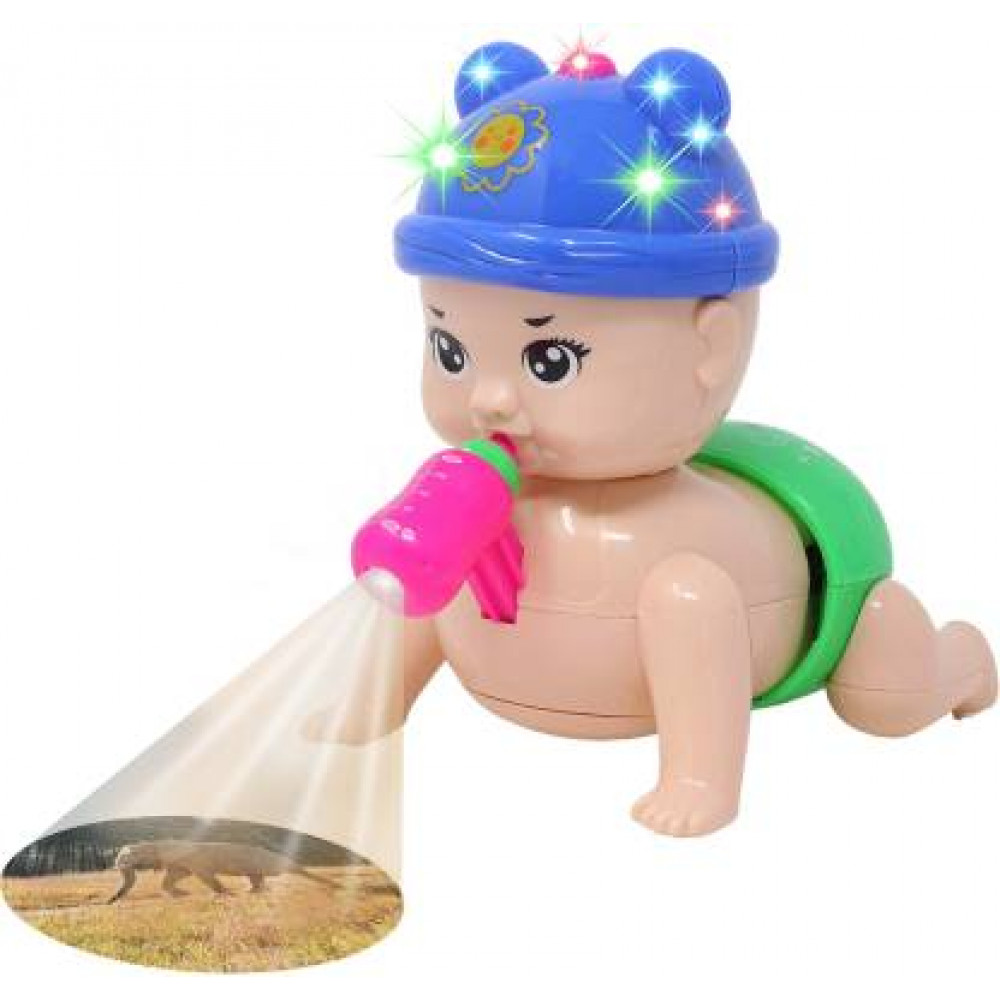 PATOYS Musical Cute Crawling Baby Toys with 3D Flashing Lights and Sounds with projector Children's Kids toy