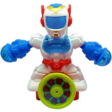 PATOYS Dancing Robot with 3D Lights Rotating Wheels and Music Toy for Kids