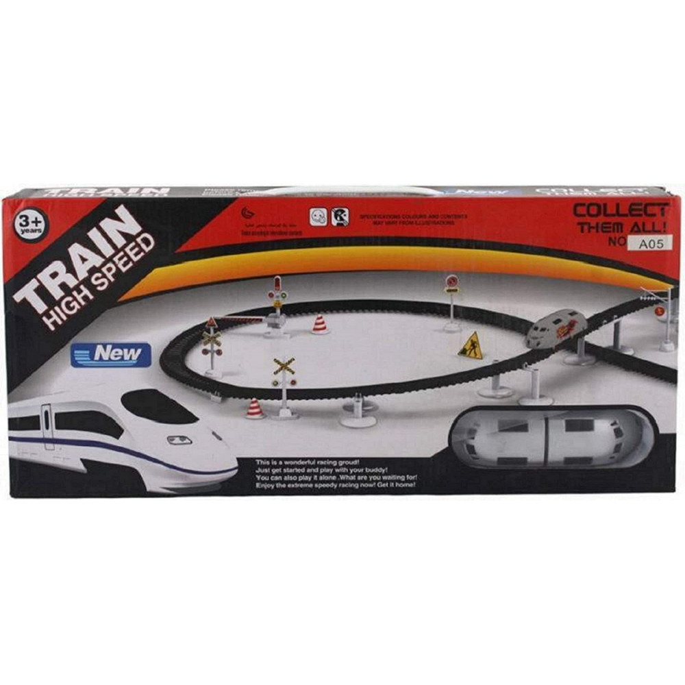 PATOYS High Speed Bullet Train Toy Set with Flyovers Tracks A05