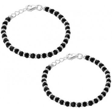 PATOYS Traditional Nazariya Baby bracelet (Pair) in 92.5 Sterling Pure Silver(Chandi) Black Bead Crystal for kids
