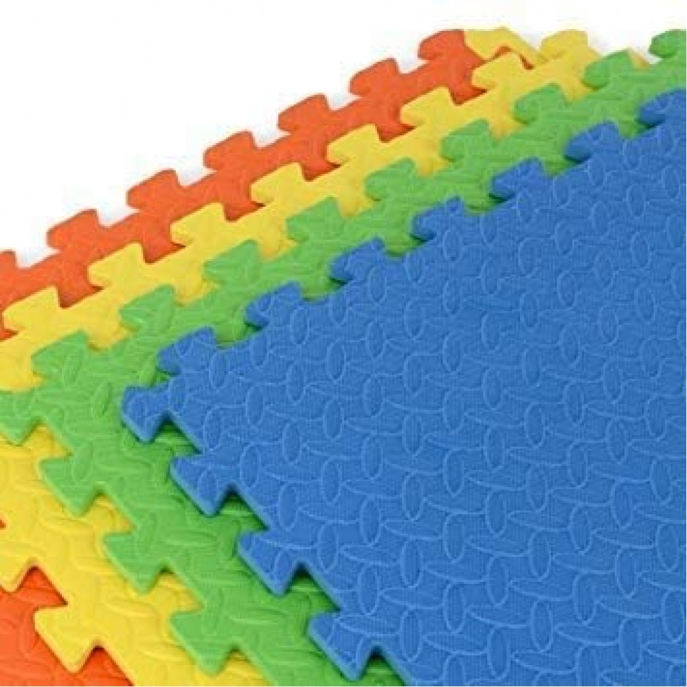 YASHAV EVA Kid's Interlocking Play Mat -12 mm Thickness -Set of 8 Tiles -60 x 60 cm Each Tile -32 Square Feet Total Area (Multicolour)