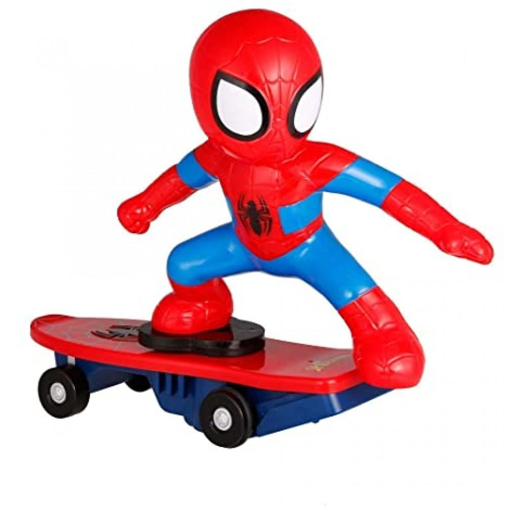 Spaier Man Action Figure Skating Sound Toy with Skateboard