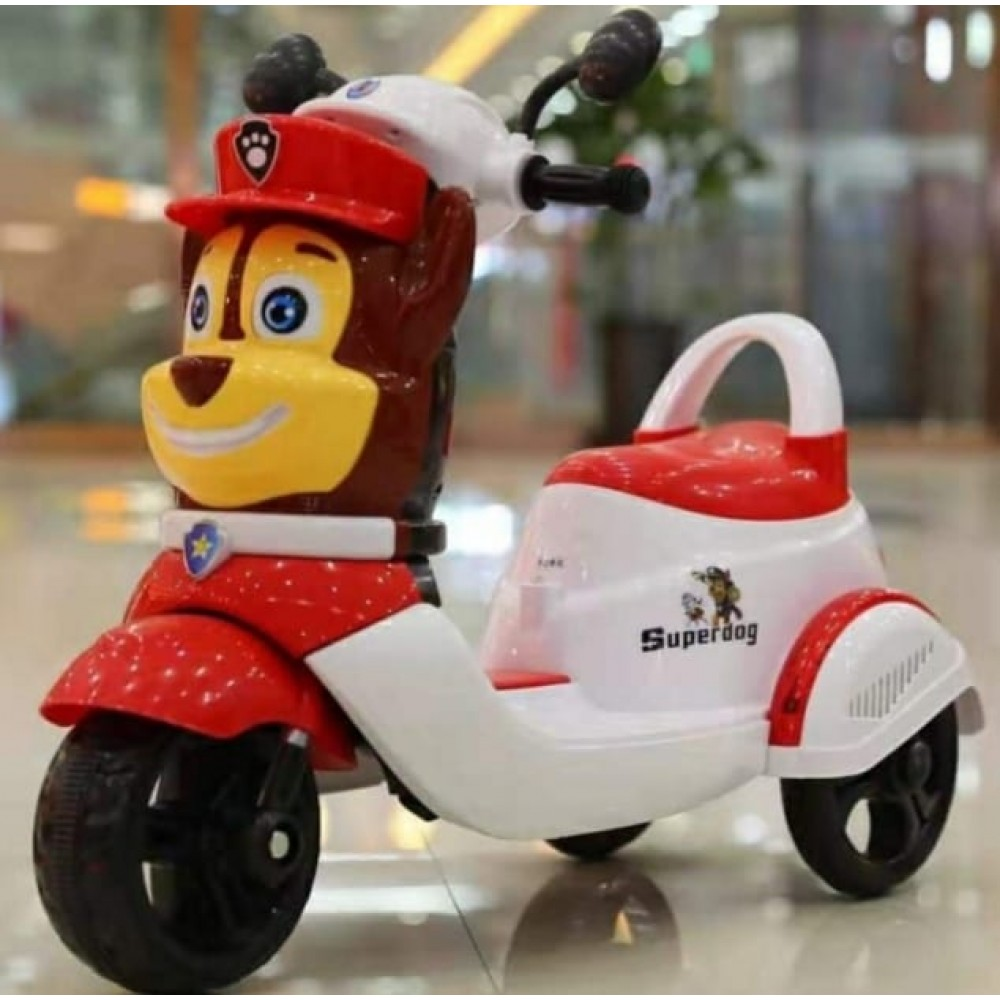PATOYS Super dog 6v battery operated ride on 3 wheel scooter for kids 1-3 years